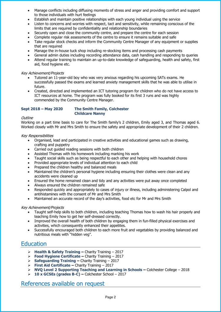Teaching Assistant with no experience CV 2