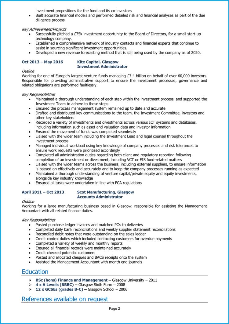 Venture Capital Analyst CV 2