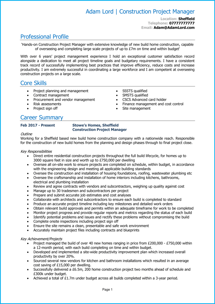Construction Project Manager CV 1