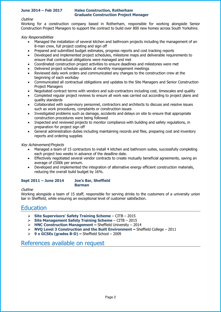 Construction Project Manager CV 2