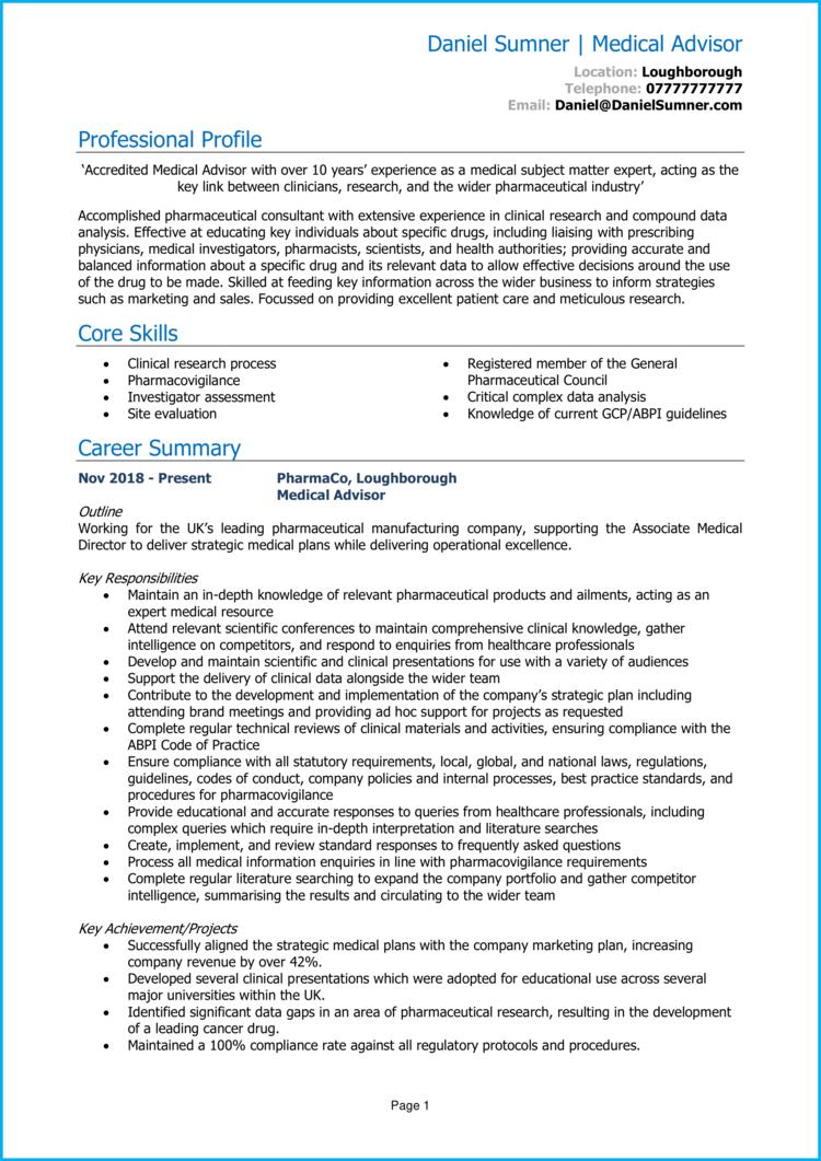 Medical Advisor CV 1
