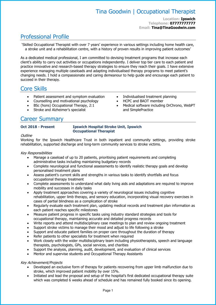 Occupational Therapist CV 1