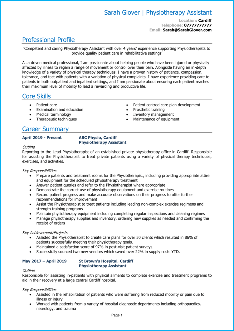 Physiotherapy Assistant CV 1