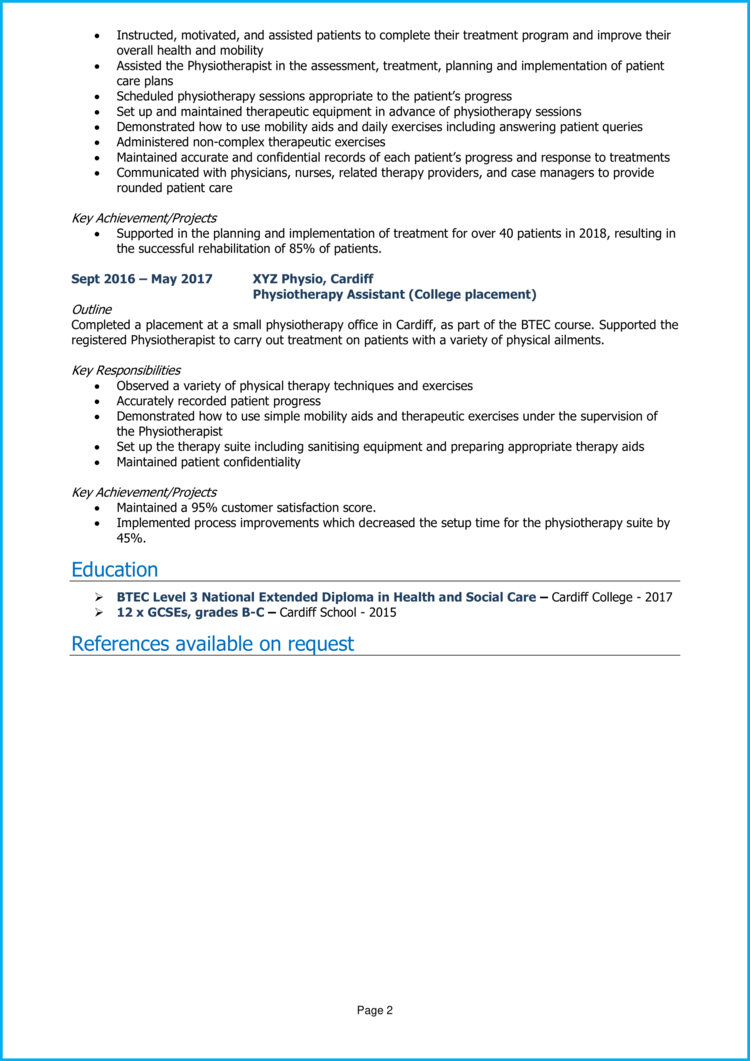 Physiotherapy Assistant CV 2