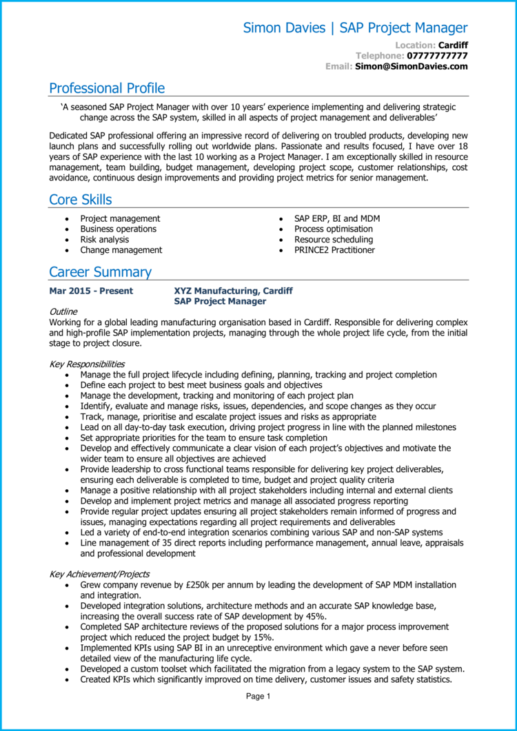 SAP Project Manager CV 1
