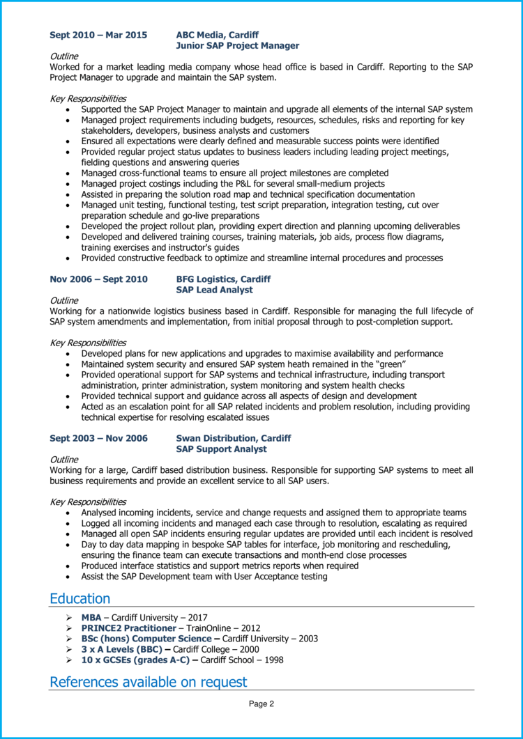 SAP Project Manager CV 2