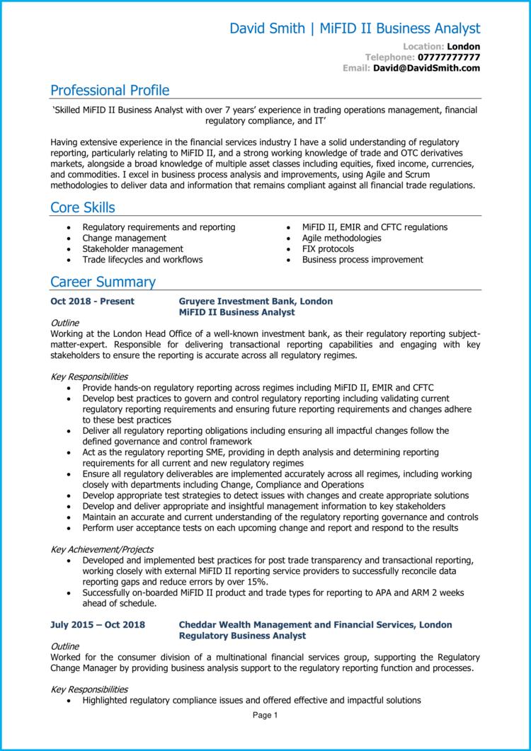 MiFID Business Analyst CV 1