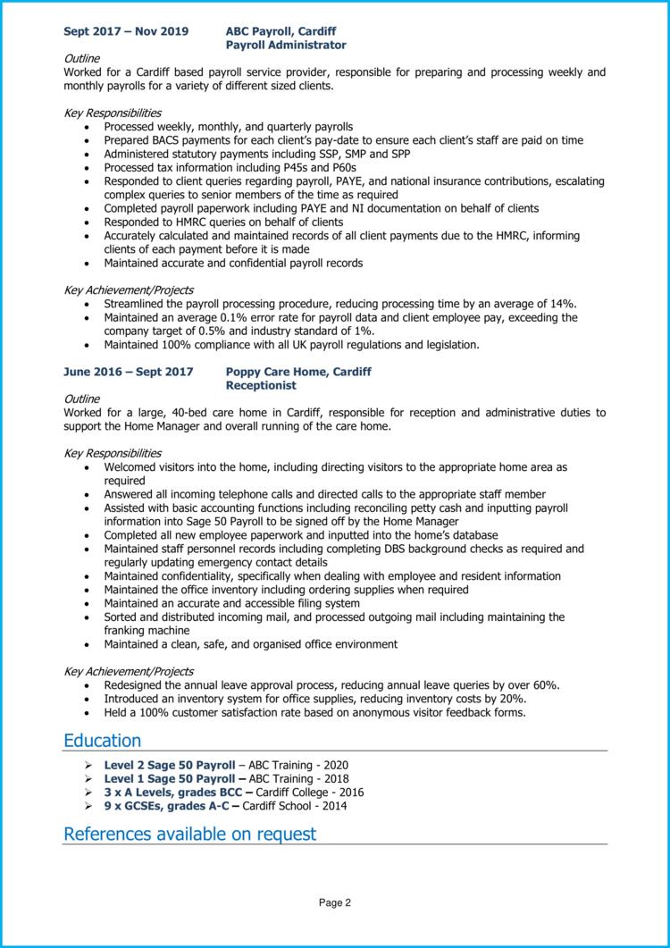Payroll Administrator CV 2