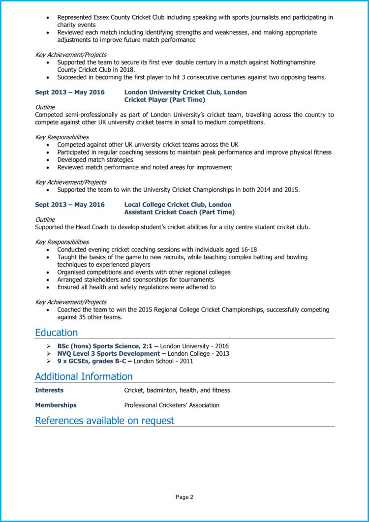 Professional Cricket CV 2