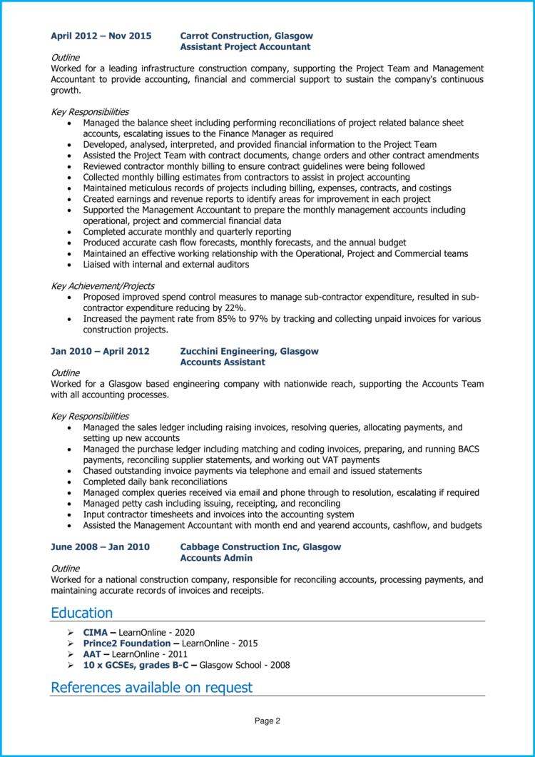 Project Accountant CV 2