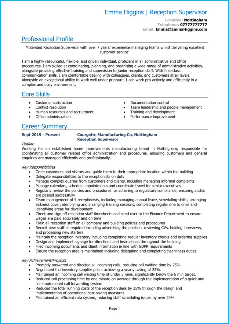Reception Supervisor CV 1