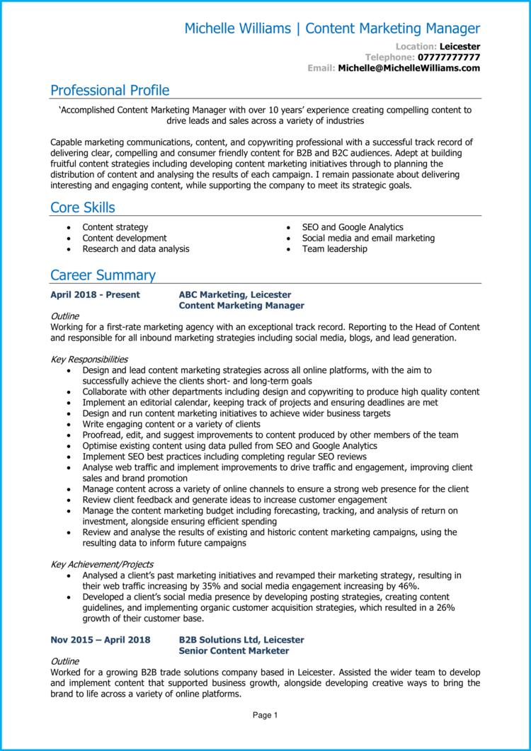 Content Marketing Manager CV 1