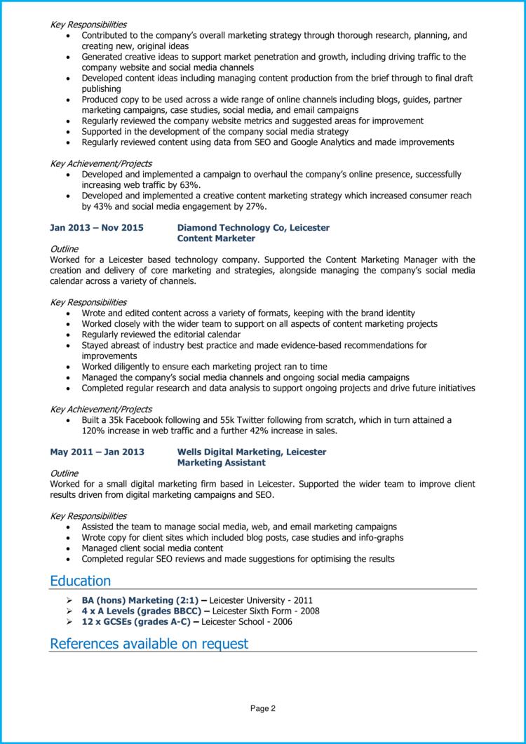 Content Marketing Manager CV 2