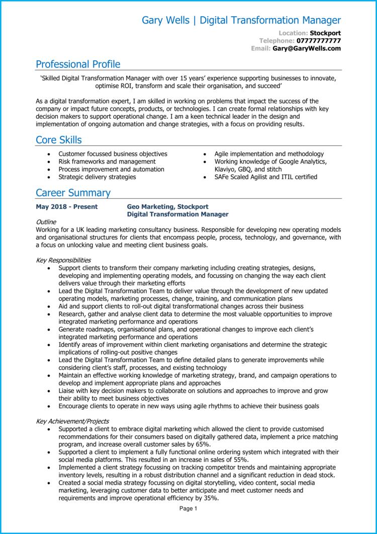 Digital Transformation Manager CV 1