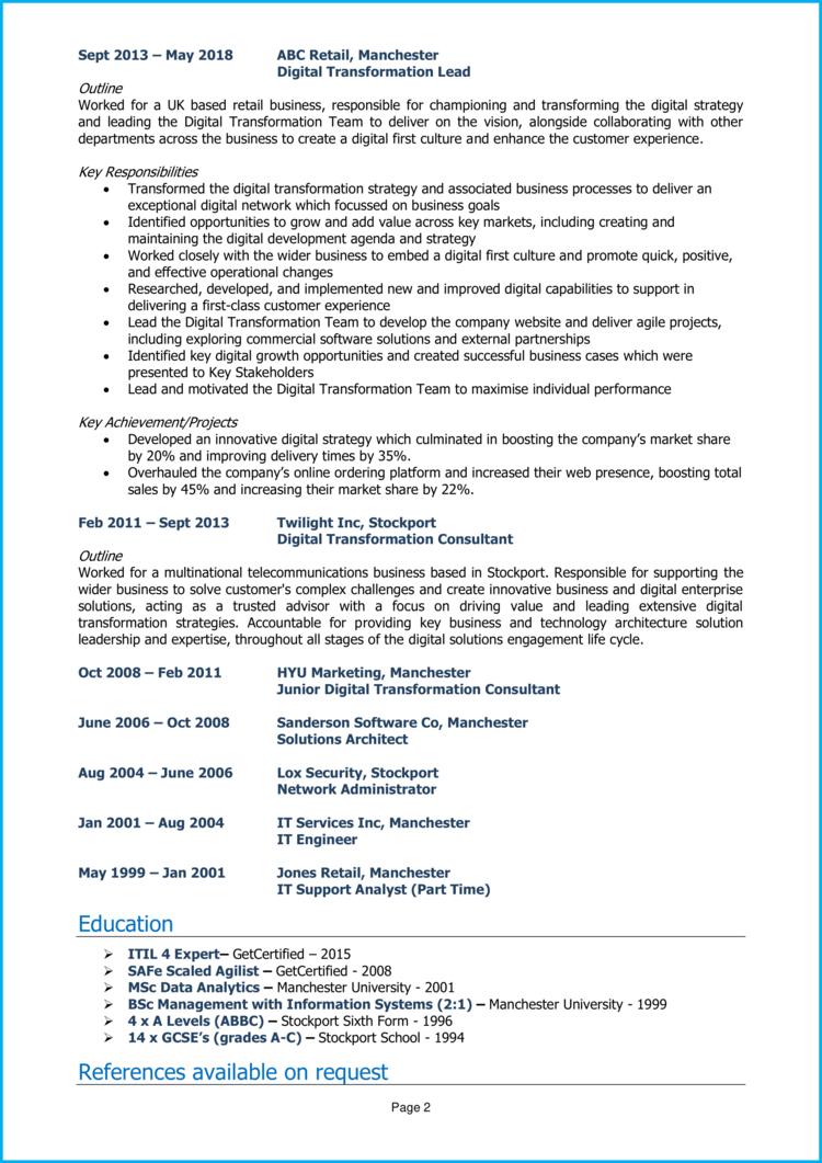 Digital Transformation Manager CV 2