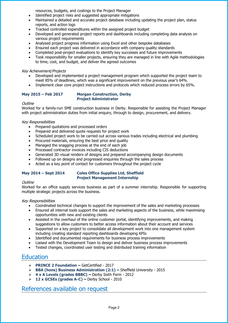 Project Support Officer CV 2
