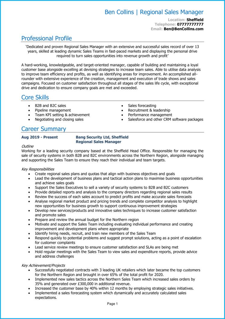 Regional Sales Manager CV 1