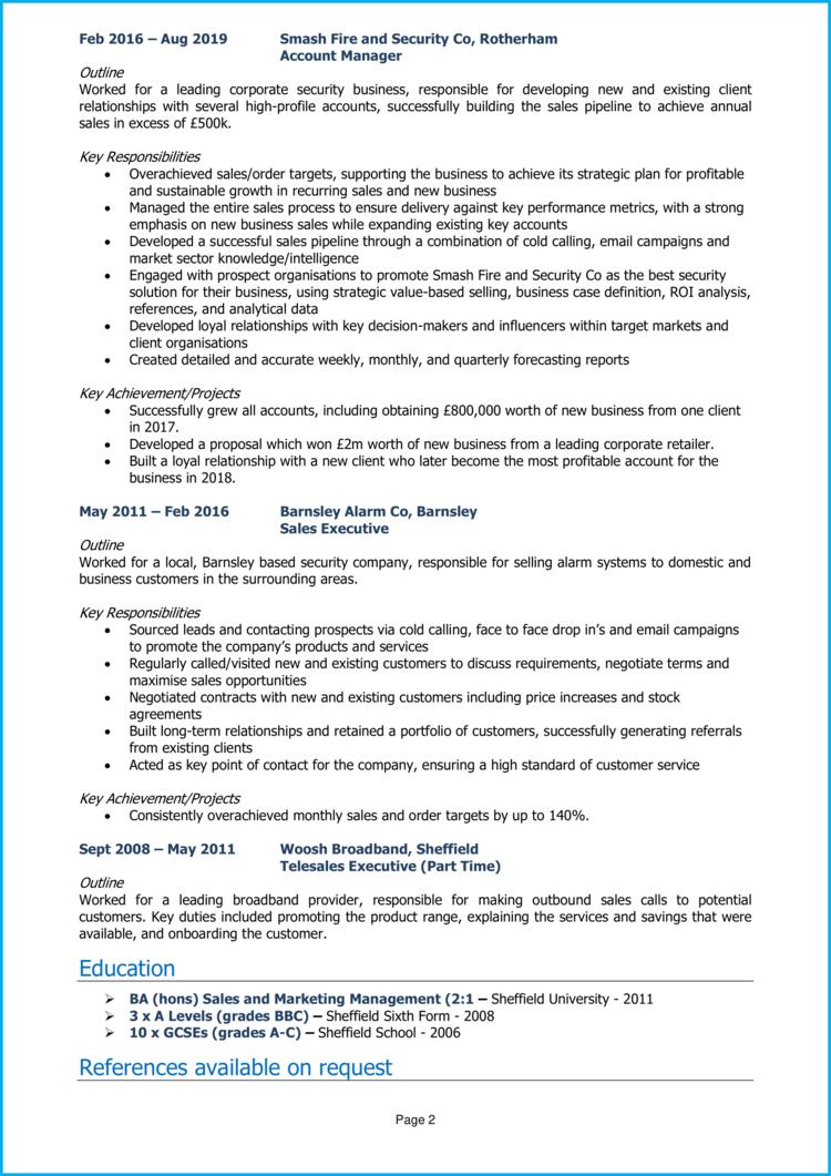 Regional Sales Manager CV 2