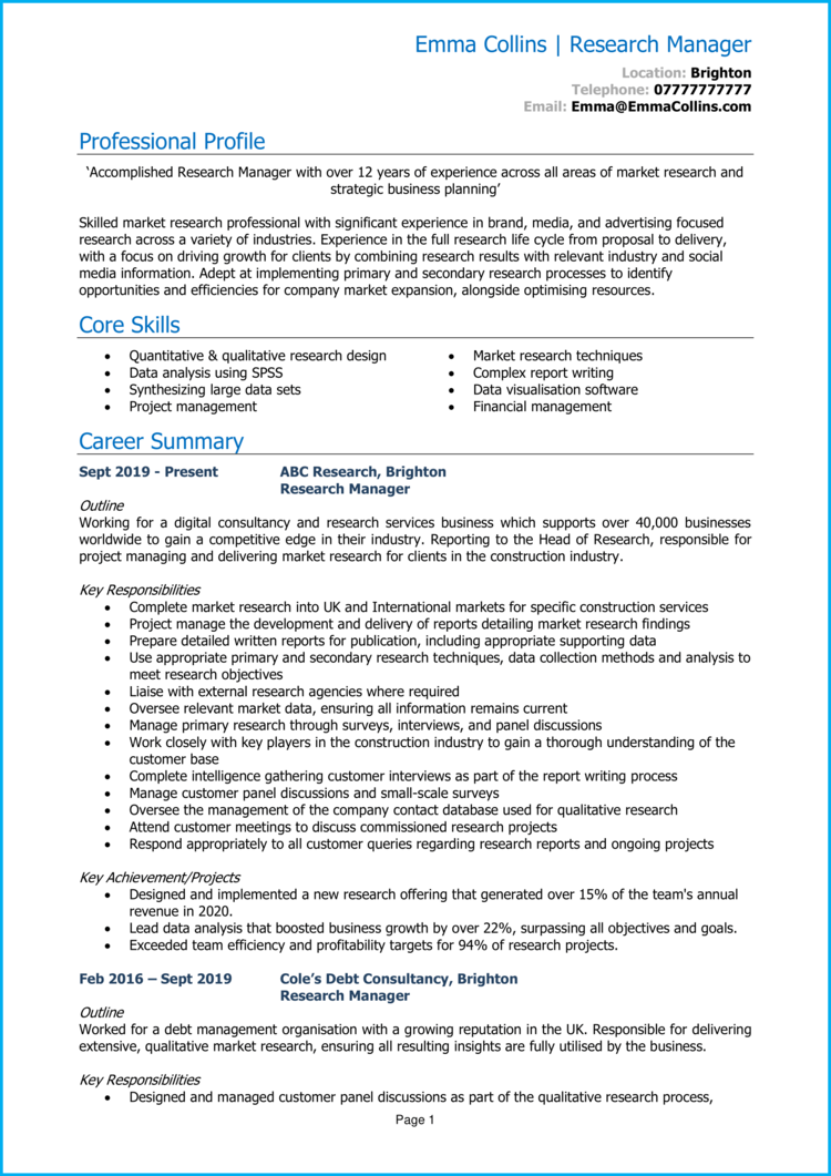 Research Manager CV 1