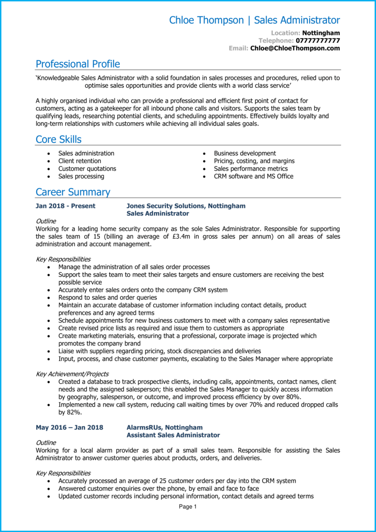 Sales Administrator CV 1