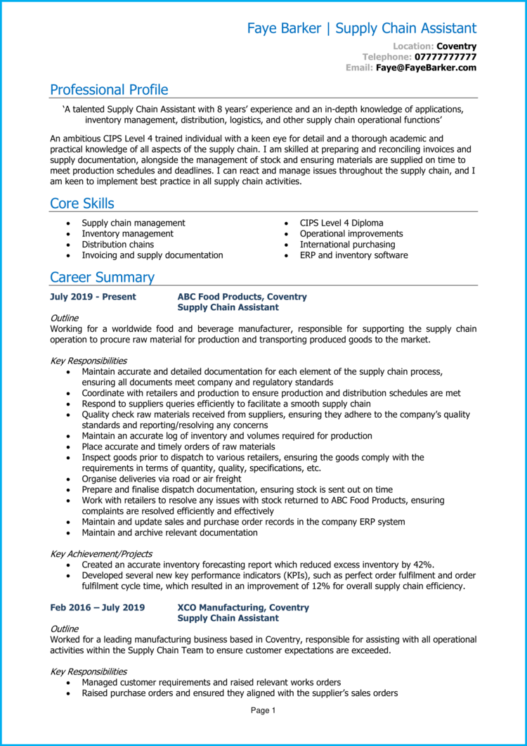 Supply Chain Assistant CV 1