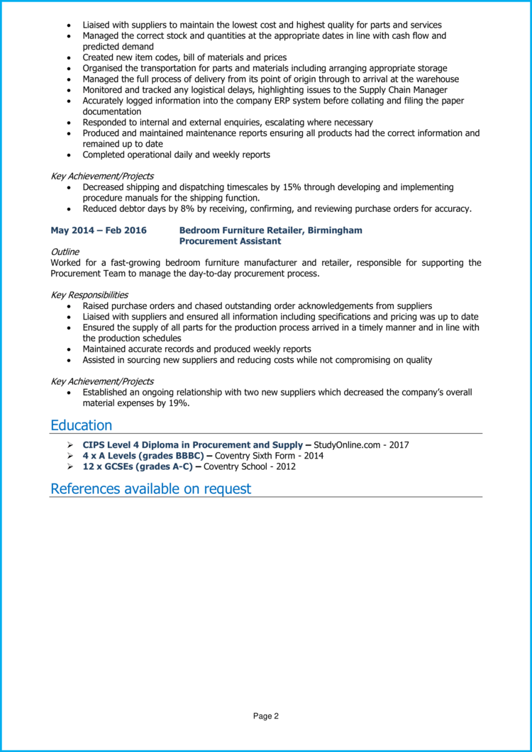 Supply Chain Assistant CV 2