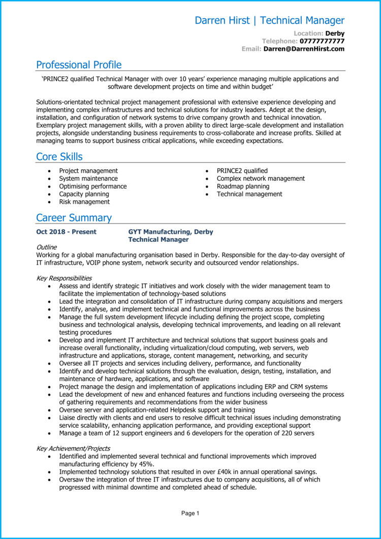 Technical Manager CV 1