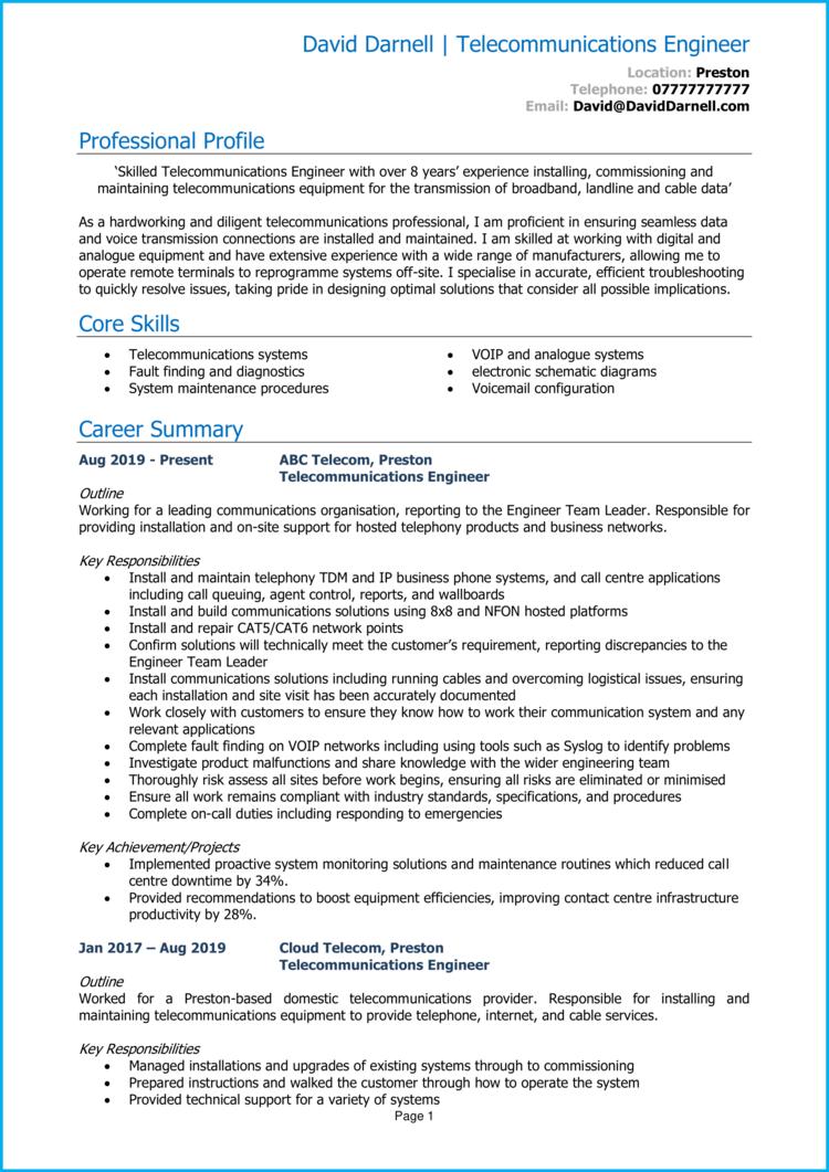Telecom Engineer CV 1