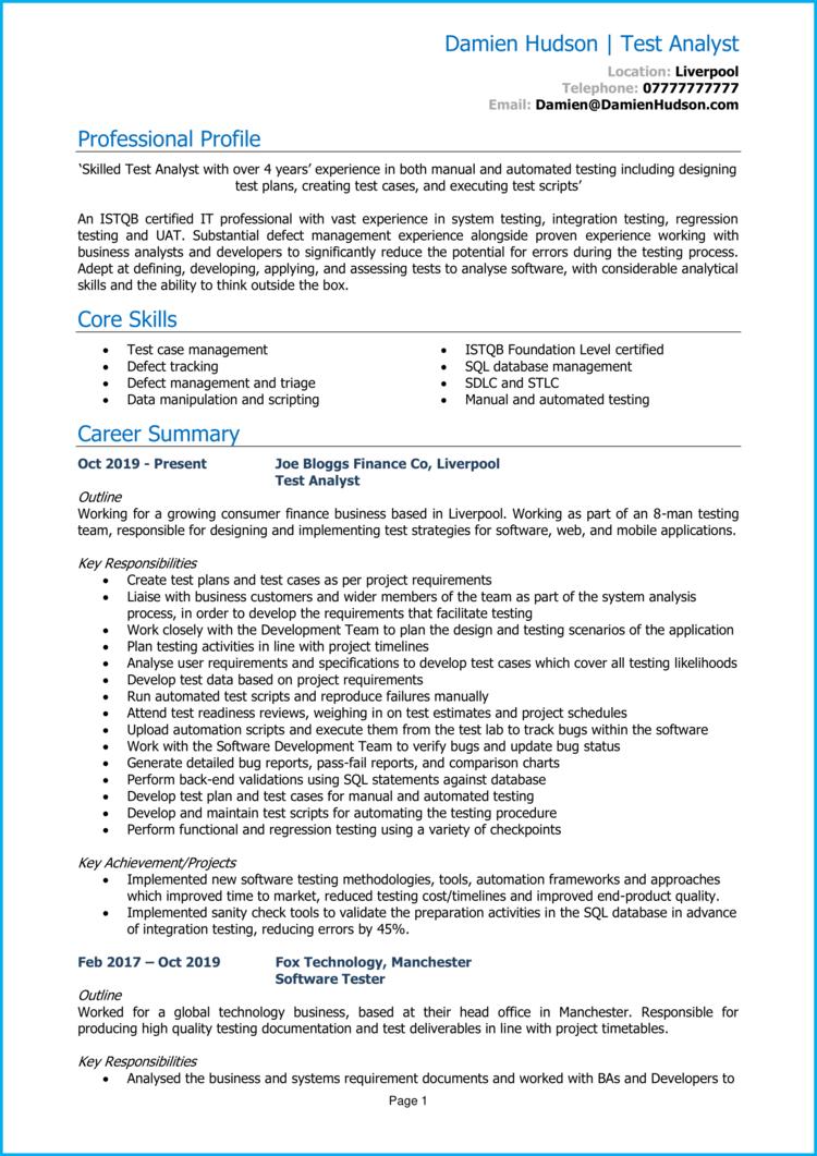 Test Analyst CV 1
