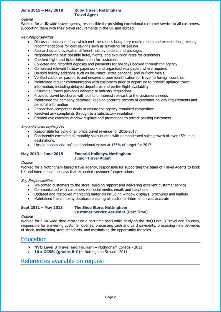 Travel Consultant CV 2