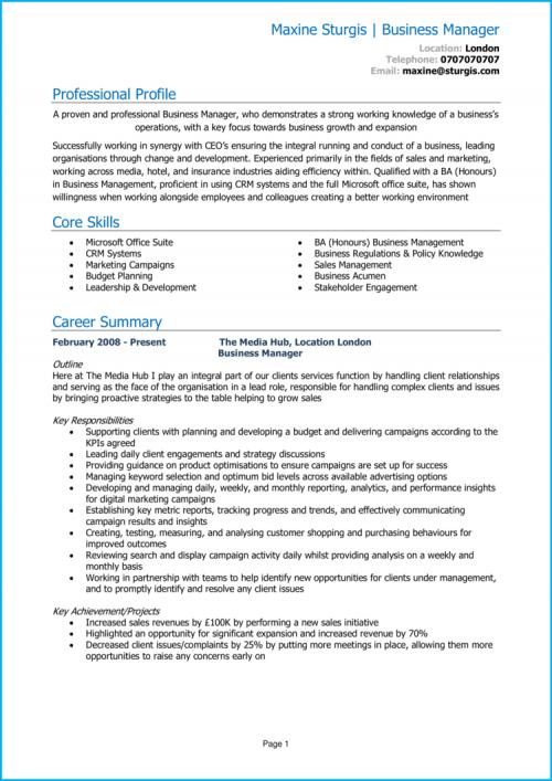 Business Manager CV 1
